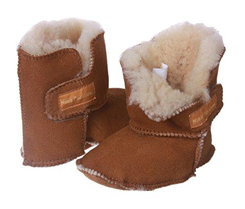 NINO Infants' Genuine Suede Shearling Erin Boots Size: M - Infant Shoe Sizes 4-5 (6-19 Months) Color: Chestnut ()
