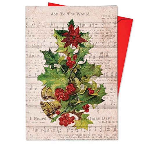 B6650BXSG Box Set of 12 Holly Notes Hilarious Christmas Note Card Featuring Festive Holiday Foliage Atop Vintage Christmas Carol Song Sheets; with Envelopes