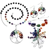 Top Plaza 7 Chakra Tree Of Life Crystals Jewelry Decor Set - Copper Wire Wrap Tree of Life Lava Stones Pendant Necklace & Earrings & Crystal Money Tree & Gemstone Adjustable Bracelet For Lover