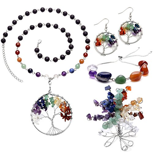 Gauge Lapis Natural Stone - Top Plaza 7 Chakra Tree of Life Crystals Jewelry Decor Set - Copper Wire Wrap Tree of Life Lava Stones Pendant Necklace & Earrings & Crystal Money Tree & Gemstone Adjustable Bracelet for Lover