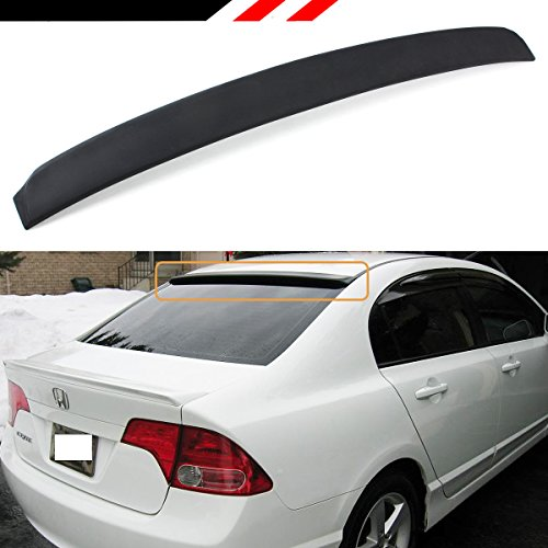 - Cuztom Tuning Fits for 2006-2015 Honda Civic LX/EX/SI/Sport 8TH 9TH Gen 4 Door Sedan JDM VIP Rear Window Roof Top Spoiler- Unpainted Black