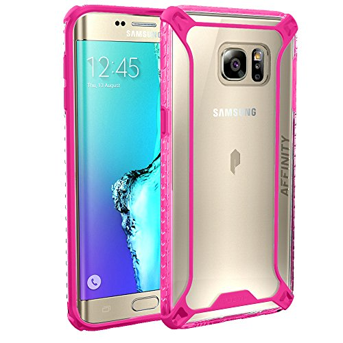 (Galaxy S6 Edge Plus Case, POETIC Affinity Series [Premium Thin]/No Bulk/Protection where its needed/Clear/Dual Material Protective Bumper Case for Samsung Galaxy S6 Edge Plus (Pink/Clear))