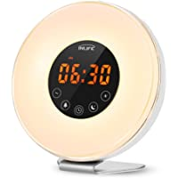 INLIFE Sunrise Alarm Clock Wake Up Light Sunset Simulator Night Light with 7 Changing Colors, 6 Nature Sounds, FM Radio, Touch Control, Snooze Function and USB Charger