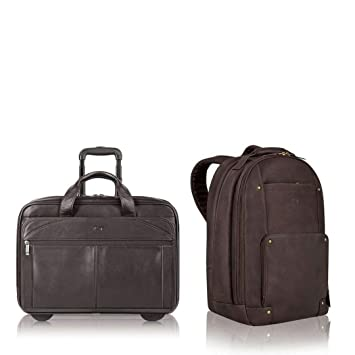 789d66e5e4 Amazon.com: Solo Reade 15.6 Inch Vintage Colombian Leather Backpack & Walker  15.6 Inch Colombian Leather Rolling Laptop Case Combo Business Set  (Espresso): ...