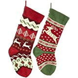 Kurt Adler 20-inch Knit Reindeer Stockings 2 Assorted