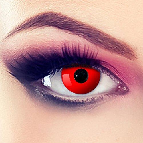 Taffstyle® Farbige Linsen crazy Fun Halloween Karneval Kostüm Kontaktlinsen Motivlinsen 3 Monatslinsen ohne Stärke Rot - Red Eye