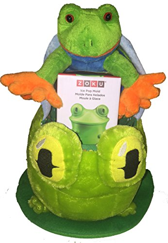 FROGTASTIC Frogs, Frogs, Frogs Plush Gift Basket with Froggie Zoku Single Popsicle Maker, It's Mine Book - ideas for girls, boys, toddlers for Easter, Birthday, Get Well