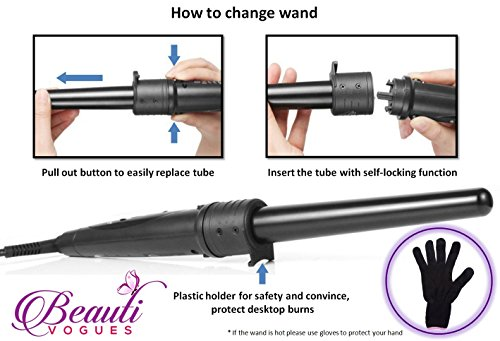 Curling Iron Wand Set with 6 Interchangeable Barrels Instant Heat with Extra-smooth Tourmaline Ceramic Coating, 6 in 1 Hair Curler for All Curls & Wave Hair styling with Heat Protective Glove