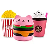 WATINC Kawaii Jumbo Hamburger&Popcorn Set Squishy Slow Rising Sweet Scented Vent Charms Kid Toy Hand Toy, Stress Relief Toy, Decorative Props Doll Gift Fun Large (Pink Ham&pop Corn)