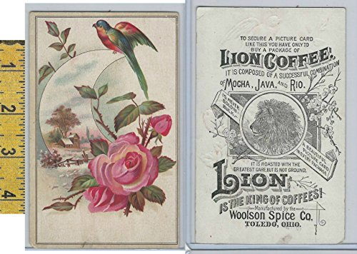 (Victorian Card, 1890's, Woolson Spice, Lion Coffee, Rose, Bird, Cottage)