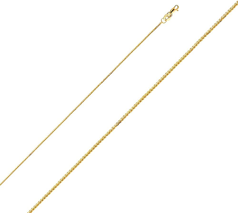 Precious Stars Jewelry 14k Yellow Gold I Love You Open Heart Pendant with 0.8-mm Yellow Gold Square Wheat Chain
