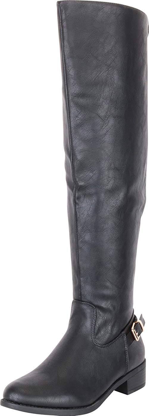 Black Pu Cambridge Select Women's Classic Thigh-High Over The Knee Riding Boot