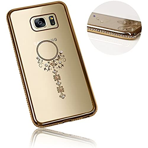 Xtra-Funky Range Samsung Galaxy S7 Edge Slim Silicone Case with Sparkling Crystal Edging and Dream Catcher - Gold Sales
