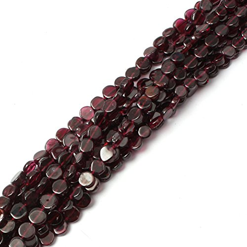 Joe Foreman Garnet Beads for Jewelry Making Natural Semi Precious Gemstone 6mm Coin Strand 15