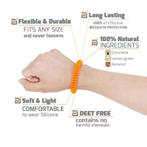 MosQuitO Repellent Bracelets - 10 Pack - All-Natural, Non-Toxic, DEET-Free - 100% Pure Essential Oil - Ideal Outdoor Companion for Kids, Adults
