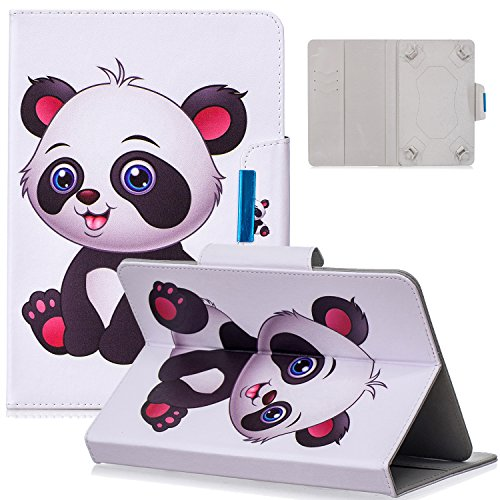 9.5-10.5 inch Universal Case, Dteck Slim Light PU Leather Protective Case with [Card Slots] Pretty Cute Cartoon Folio Flip Stand Wallet Case Cover for All 9.5-10.5 inch Tablet,Baby Panda