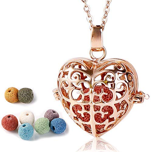 Maromalife Essential Oil Necklace Polished Stainless Steel Necklace Diffuser Not Tarnished, Not Fade, Not Bleed, Urn Necklace Rose Gold Heart +8 Lava Stones [GIFT TO MOM]