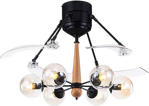 Ventiladores para el Techo con Lámpara Vidrio Ventilador de Techo Ventilador de la habitación Lámpara Ventilador de Techo Luz Control Remoto Estilo Simple Restaurante Sala de Estar Ventilador para el: Amazon.es: Hogar