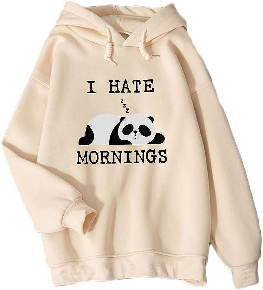 KEEVICI Winter Women Sweatshirt I Hate Mornings Letter Panda Print Hoodie