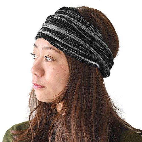 Casualbox Charm Unisex Headband Bandana Yoga Hairband Stretchy Dreds Unique Dye Effect Mens Womens Black