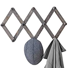 MyGift 10-Hook Rustic Gray Wood Expandable Accordion Peg Coat Rack Hanger