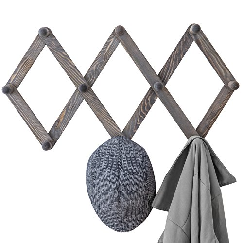 Tree Hooked Coat - MyGift 10-Hook Rustic Gray Wood Expandable Accordion Peg Coat Rack Hanger