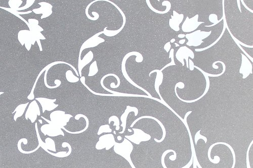 Hogar Static Cling Vinyl Decorative Privacy Flowers Floral Glass Window Film White 3 FT x 6 FT