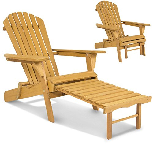 Outdoor Wood Adirondack Chair Foldable w/ Pull Out Ottoman Patio Deck Furniture by BEC