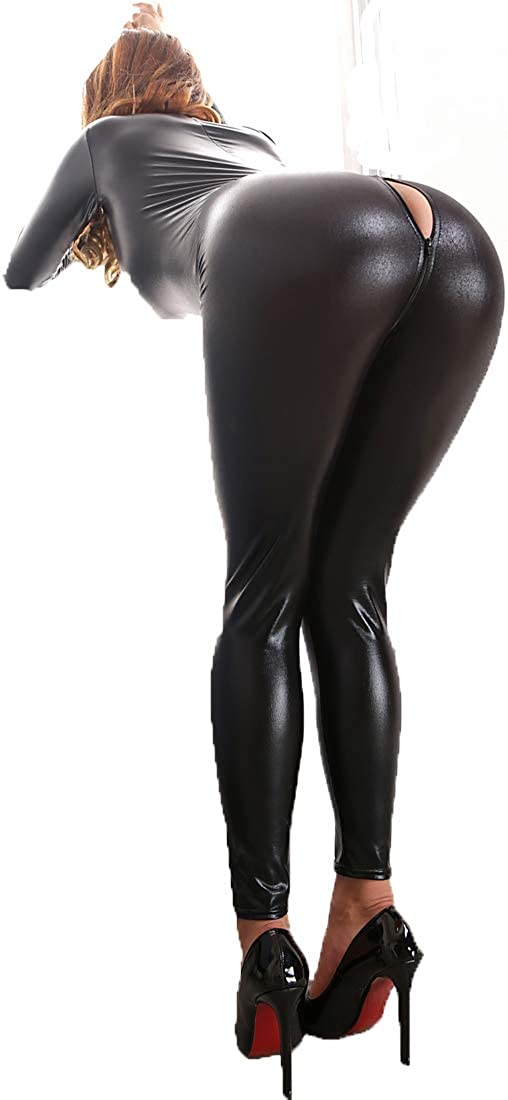 Women Leather Shiny Wet Look Bodysuit Zipper Catsuit Jumpsuit Lingerie Nightclub