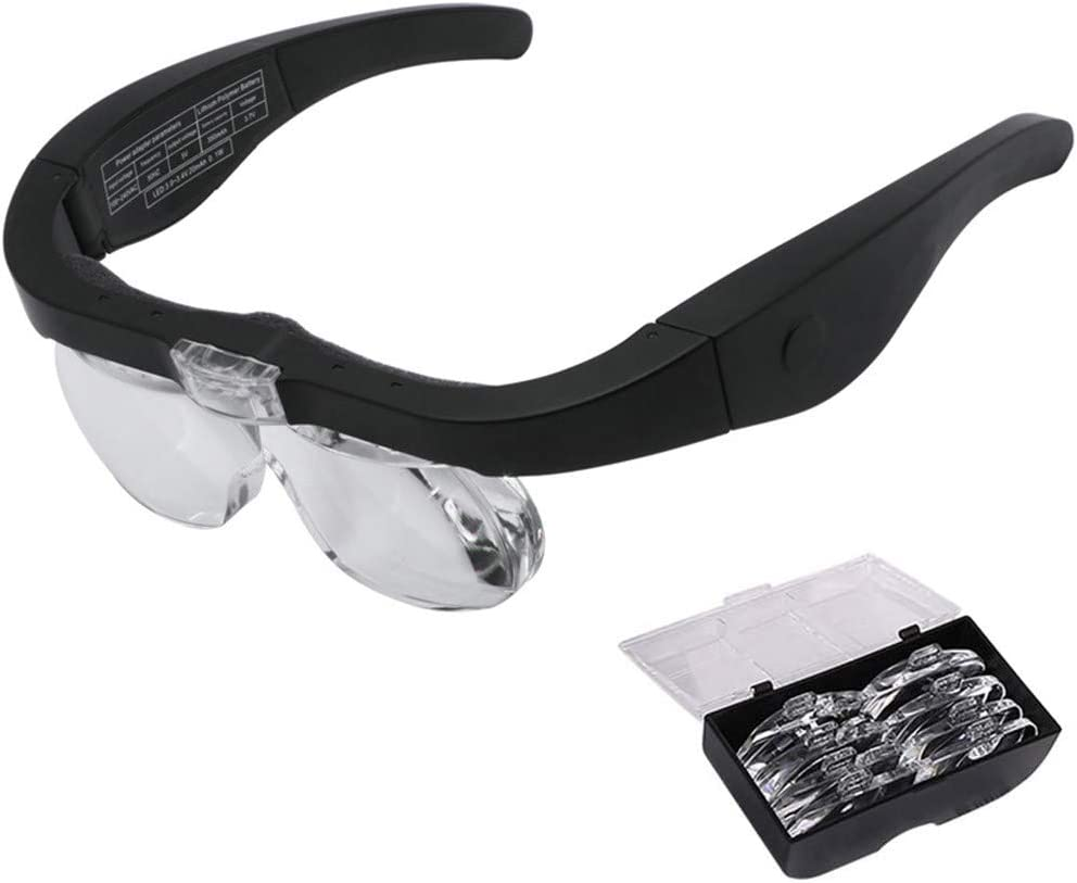 ZXZXZX Lupa de Tipo Anteojos Gafas Lupa Visera Lupa Montada en la Cabeza Profesional con 2 Luz LED Lupa de Gran Aumento 4 Lentes Intercambiable1.5X-5X para Leer Reparación de Joyería
