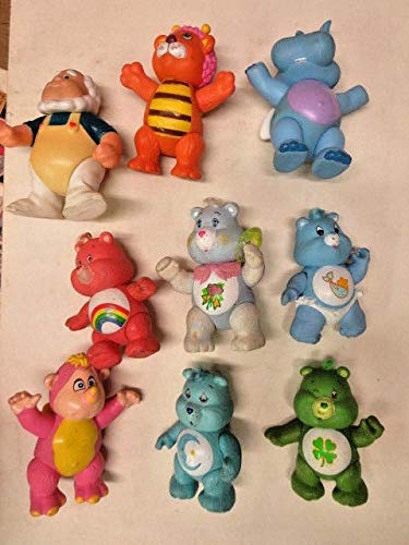 CARE BEARS/WUZZLES pvc miniature figures lot of 9 figures 1983 vintage
