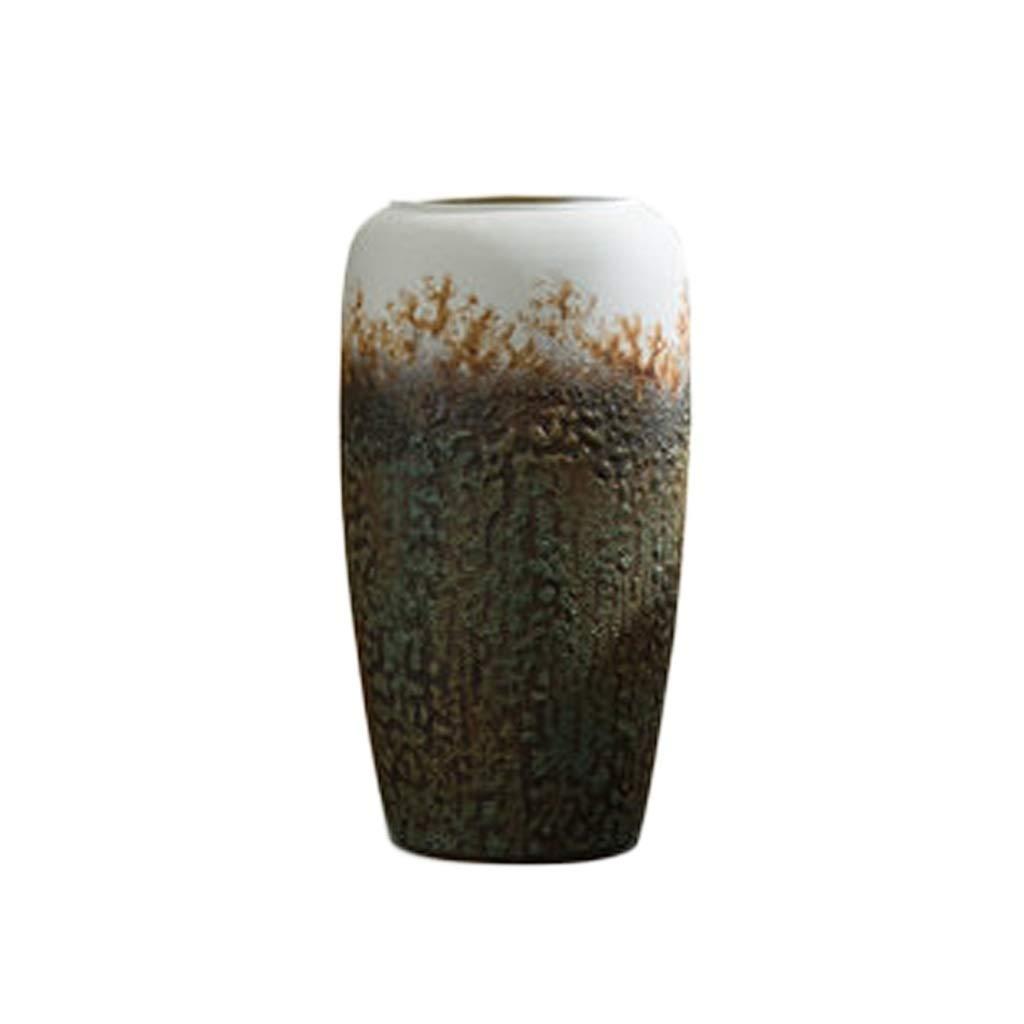 セラミック花瓶装飾リビングルームクリエイティブフラワーアレンジメントドライフラワー中国風レトロホームデコレーション。 LQX B07QXX1HZ8
