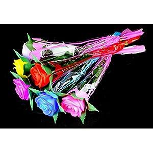 Set of 4 Romantic LED Rose Light up Luminous Plastic Rose - Flashing, Color Changing Artificial Flower Wedding Garden Decoration (Purple) 56