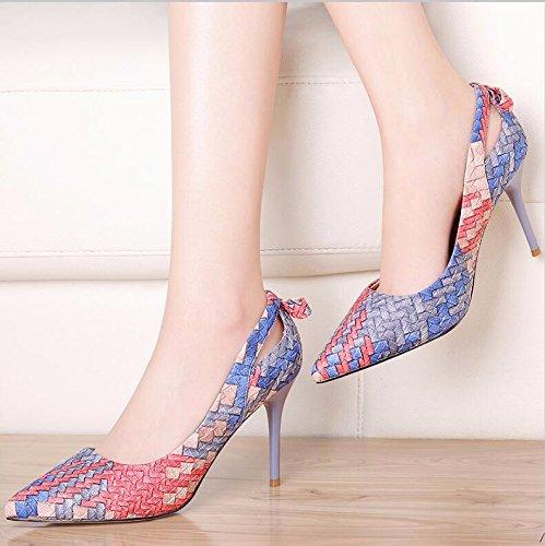 KHSKX-Orange 8Cm High-Heeled Single Shoe Women New Slim And Stylish The Tip Of Foot Wear Fashion Woman Shoes 34 VFWP0n