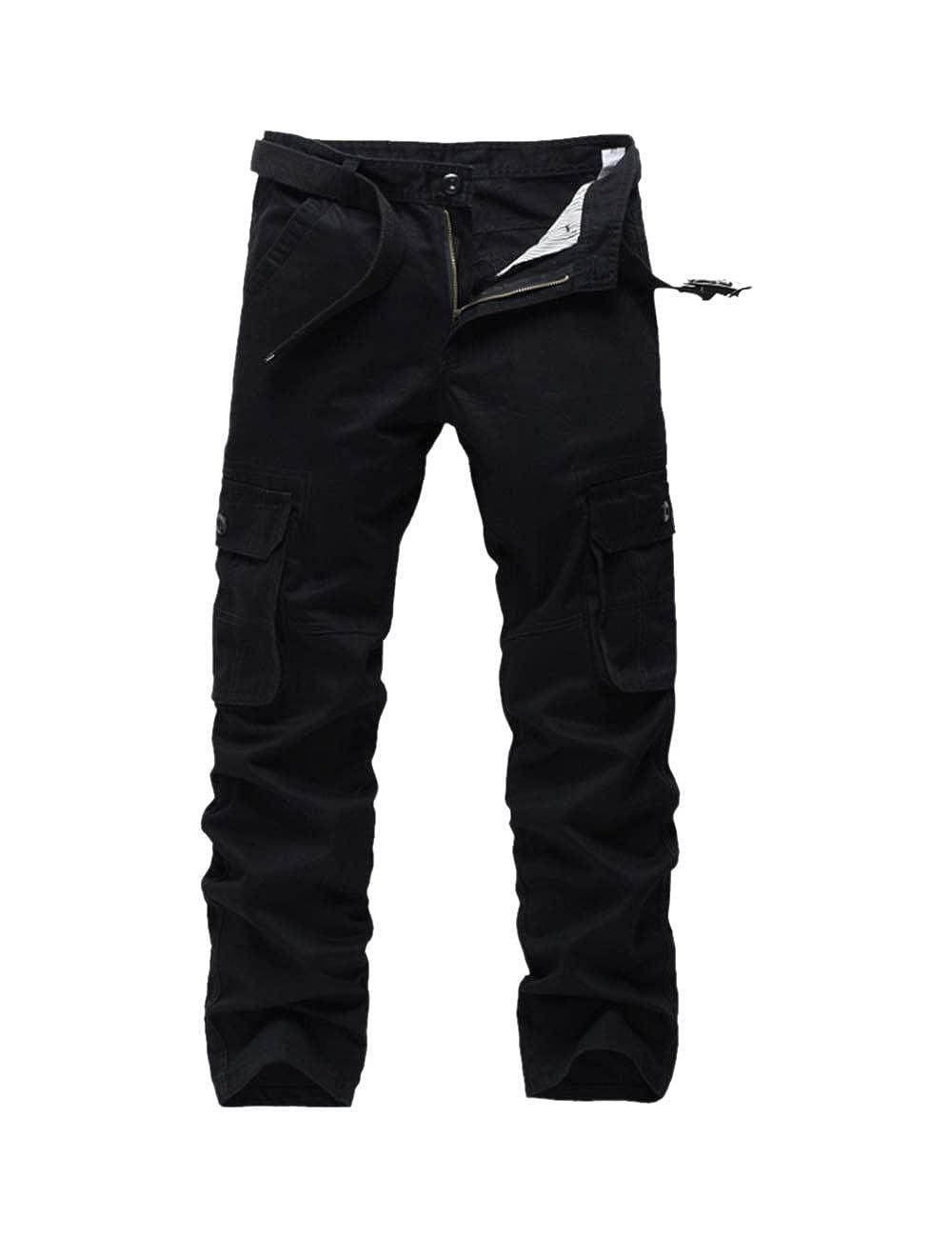 BESBOMIG Pantalones de Trabajo de Hombre - Hombre Pantalones Deportivos de Combate Pantalones Casual de Carga Suelta Resistente al Desgaste Algodón Multi Bolsillo Tamaño 31 a 38