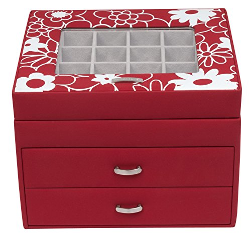 Windrose Charming Schmuckkoffer Charmbox mit Schubladen 1 flowers red