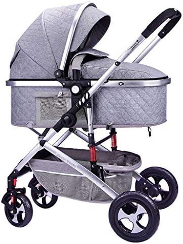 ポータブルベビーカー-軽量新生児ベビーカー、ショックアブソーバー付きリクライニングベビーカー、数秒で片手で素早く折り畳む-ブラック (Color : Gray)