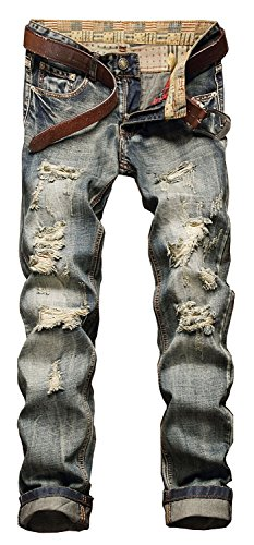 Banana Bucket Men's Ripped Slim Straight fit Biker Jeans With Zipper Deco