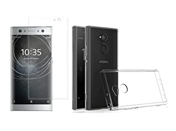 Novago [Pack] kompatibel mit Sony Xperia XA2 hülle Case Silikon + Panzerglas Schutzfolie