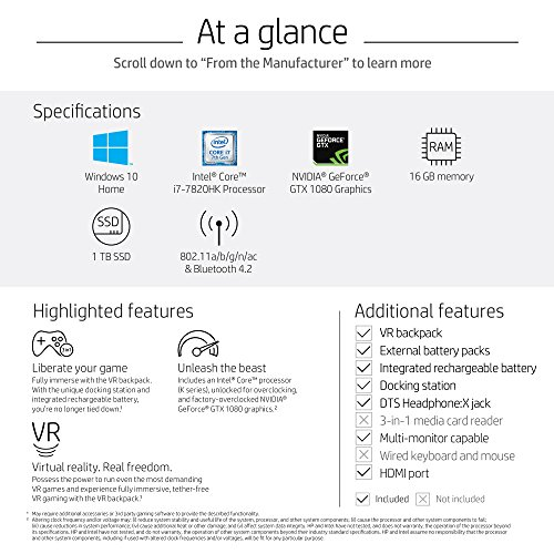 51n1sOPKfNL - OMEN X by HP Compact Gaming Desktop Computer with VR Backpack, Intel Core i7-7820HK, NVIDIA GeForce GTX 1080, 16GB RAM, 1TB SSD, Windows 10 (P1000-020, Black)