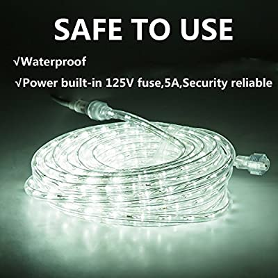GuoTonG 50ft/26.2ft Plugin Rope Lights, 540 Daylight White LEDs, 110V, 2 Wire, Waterproof,Connectable, Power Socket Connector Fuse Holder, Indoor/Outdoor Use, Ideal for Backyards, Decorative Lighting