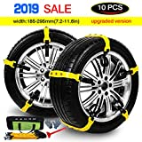 Tire Chains Anti Slip Snow Chains Adjustable Anti-skid Emergency Snow Tire Chains for Most Cars/Trucks/SUV /JEEP/ATV Car Belting Straps Mud Ice Snow Chains Set of 10 Width 185-295mm/7.2-11.6''