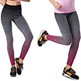 Gudessly Women's Sports Pants, Flexible and Comfortable Yoga Pants, Exercise, Running, Fitness, Daily Wear, Soft and Healthy Cotton Leggings (Gray + Rose Red) For Sale
