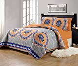 Fancy Collection 7 Pc Queen Over Size Quilted Bedspread With Matching Sheet Set Orange Coastal Plain/'Gray Green' White Blue Elegant Design New