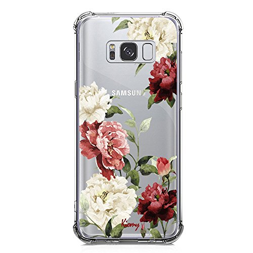Case for Samsung Galaxy S8 Flowers Pattern Print for Girls Women Shockproof Bumper Protective Cover Flexible Slim Fit Clear with Cute Lovely Floral Design Soft Silicone Rubber Gel Drop Protection Skin