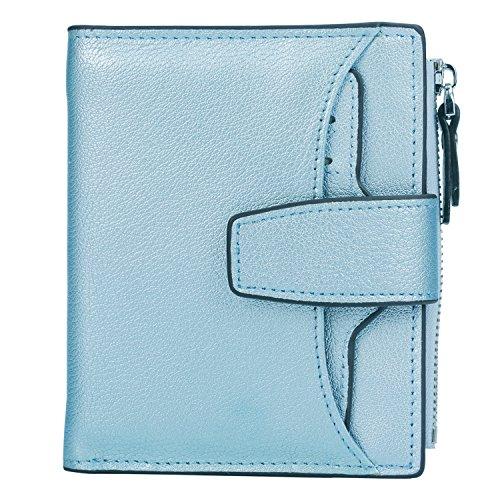 Women's Bi Small Compact Big Wallet with Zipper RFID Orange Light fold Leather Sale Window Id Blocking Natural Purse Lichee AINIMOER Pocket Card Blue Case xWx7nE08