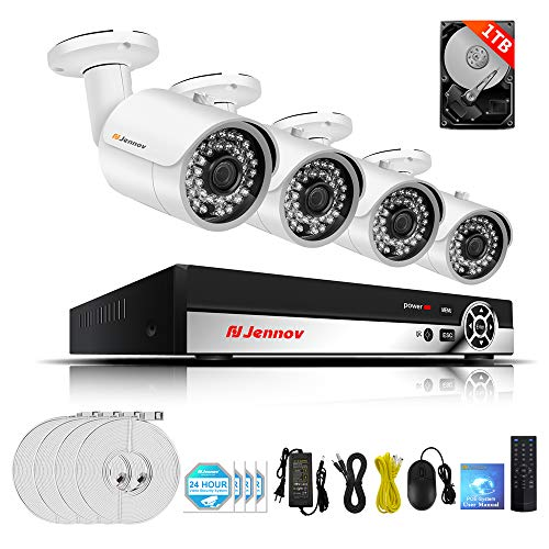 Cheap Jennov Poe Security Camera System, 4 Channels 1080P IP Bulllet Camera and Nvr Kits Outdoor Home Surveillance CCTV Camera Motion IR-Cut Night Vision Remote View Pre-Installed 1TB Hard Drive …