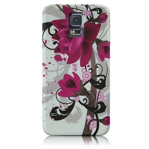 Xtra-Funky Exclusivo suave caja de la flor púrpura de silicona lirio Floral Para Samsung Galaxy S5 Mini - Diseño B14 B14