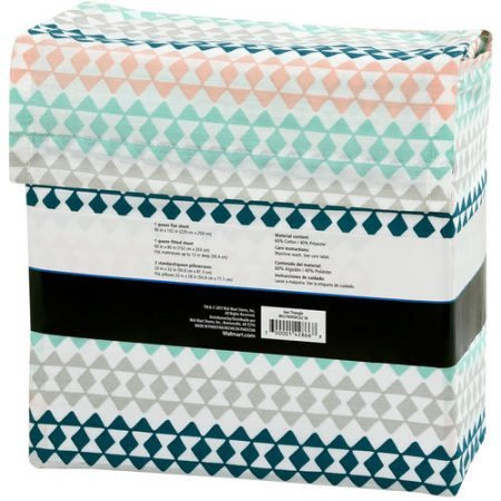 Mainstays ''Back to School'' 180 Thread Count Sheet Set, Fun & Modern! Your Favorites- Florals, Llama, Pineapples, Cactuses, Geometric Triangles! Flat, Fitted, & Pillowcase Set! (Queen, Geo Triangle)