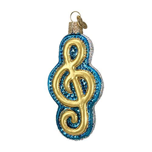 - Old World Christmas Glass Blown Ornament with S-Hook and Gift Box, Music Collection (Treble Staff [Blue])